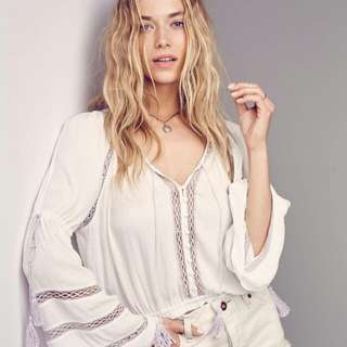 Free People Lace White Peasant Top