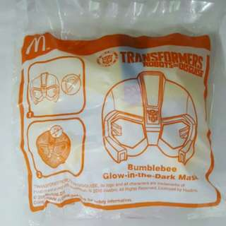 SALE📮Brand New McDonald's Happy Meal Toy Transformers Robots In Disguise Bumblebee Glow In The Dark Mask
