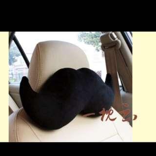 2pcs/ 1 Pair black Moustache Car Neck Pillow