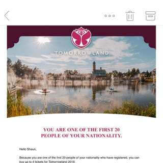 Tomorrowland 2018 comfort pass x 2 (weekend 1)
