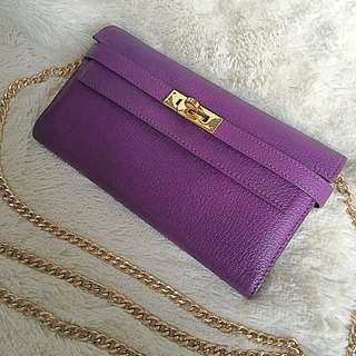 🈹🈹Hermes Kelly purple colour long wallet Birkin Constance Herbag backpack Lindy garden party