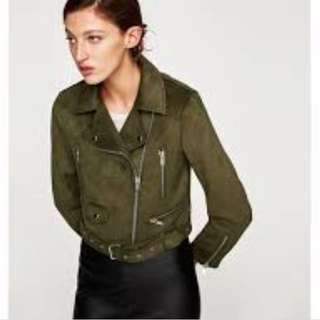 Zara moto suede jacket L