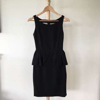 Portmans Sleeveless Black Peplum Dress / Corporate Dress / Work Dress / XS/ AU 6