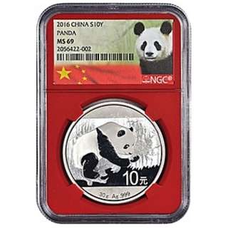 2016 China Panda 10 yuan Silver coin Graded MS 69 by NGC