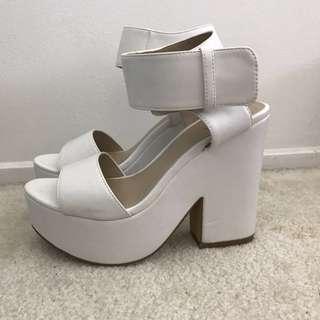 Dotti - white chunky heels