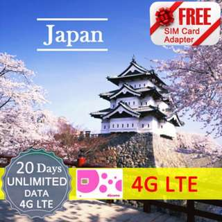 Japan 15/20/30 Days Unlimited Data SIM Card