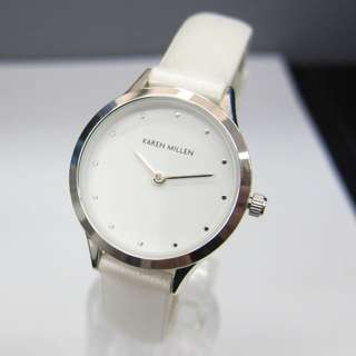 Karen Millen Quartz Watch with White Dial Analogue Display and White PU strap