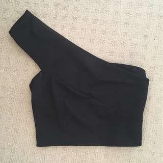 Brand New Sportsgirl Black One Shoulder Crop Top XS 8