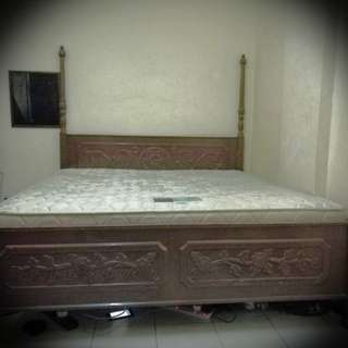 ANTIQUE VINTAGE TEAK WOOD KING BED WITH MATTRESS KATIL TILAM KING SIZE KAYU JATI