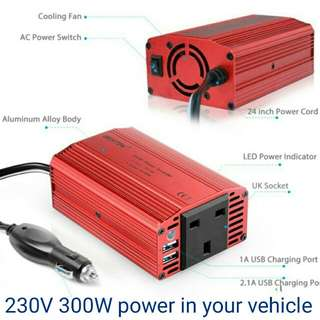 BESTEK 300W Power Inverter DC 12V to AC 230V 240V Transformer Car Charger Lighter Adapter with 3 Pin Plug and Dual USB Ports