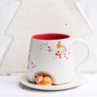 Starbucks Mug fox mug with plate saucer