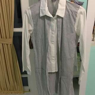 Reprice - Long Stripes Shirt For Woman