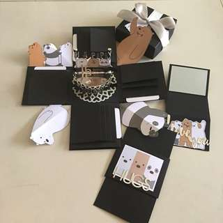 Bare bear Explosion box with cake, 4 waterfall, slider, gold card in black and silver