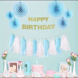 Blue Paper Fan Decor Set - Baby Shower / Decor / Wedding / Birthday / Backdrop