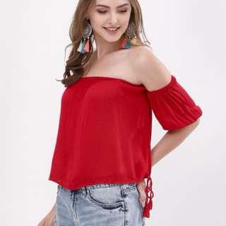 Red Off Shoulder Top