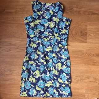 Meg floral dress (blue&green)