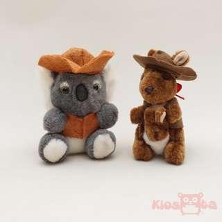 boneka koala dan kangaroo australia dengan kostum cowboy preloved