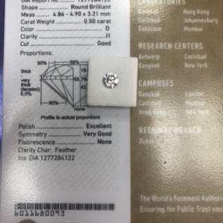 GlA 0.50 D+++ 靚仔I1 只售6800