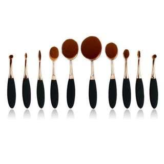 10 PCs soft  oval multipurpose  make up brush set( instock)