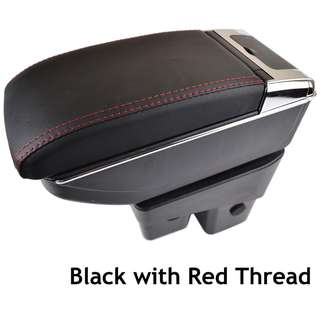 Honda Jazz 2014-2017 PVC Arm Rest Armrest Console Black Leather RED STITCHING (Single Layer)