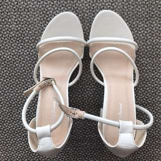 White Strapped Chunky Mid Heel