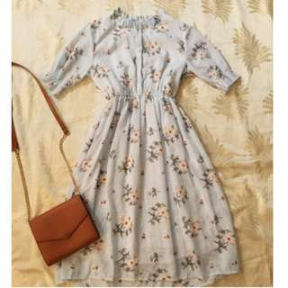 Light Blue Floral Smock Dress