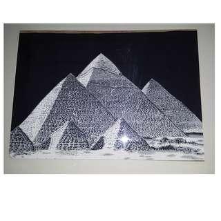 埃及金字塔有立體感人手畫送 ikea 相架