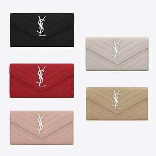 YSL Large Monogram Flap Wallet 銀色YSL Logo