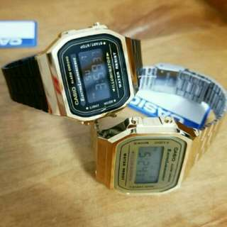 Casio Couple Watch A168 Gold & Black gold A168WEGB