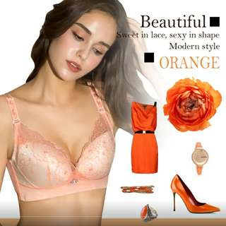 🚚 【艾波迷亞】15度內推立挺無鋼圈胸罩(花嫁刺繡款)-甜橙橘