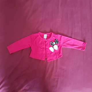 Brand New Hot Pink Long Sleeve Jacket with Black and White Ribbon (6 months)