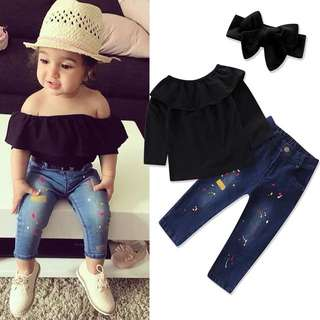 Girl black word long sleeve shirt + jeans two-piece suit