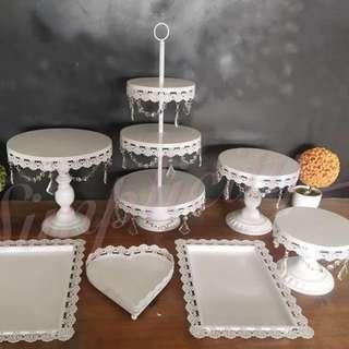7pcs Jewel White Dessert Tray, New Version Cupcake Tier, Cake Stand Rental