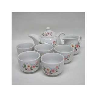 7-Piece Ceramic Tea Set w/ Pink Floral Design