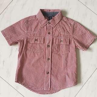 $6 Checkered Red White Collared Boy Kid Shirt