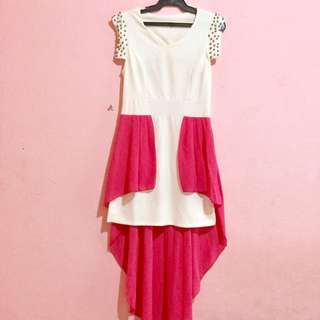 Studded Pink-White Dress Stretchable