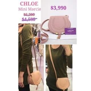 全新 CHLOE 3P0580 Mini Marcie Blush Pink 迷你 淺粉紅色 肩背袋 斜揹袋 手袋 Calfskiin Handbag