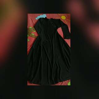 black bell sleeves abaya