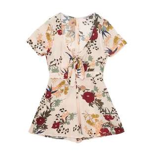 Pull and Bear Floral Peach Romper