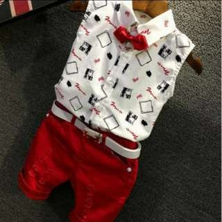 Clearance Sales 2pc Set Boys Top and Shorts CNY