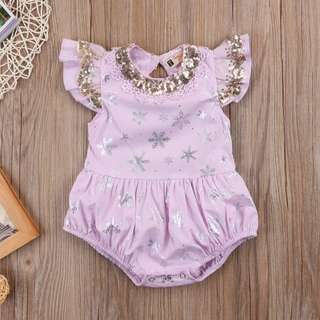 🐰Instock - purple sequin romper, baby infant toddler girl children glad cute 123456789