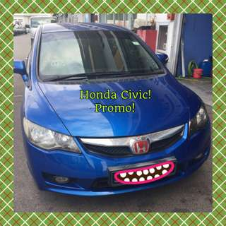 HONDA CIVIC 2.0L 5AT! Promo Now! Petrol Saver Proven! 18% off petrol Card! Lowest Price! Can Drive For Uber/Grab/Sixtnc! Flexible Rental Scheme! Personal User! Call Now!