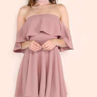 Nude Pink Frill Bardot Off Shoulder Skater Dress
