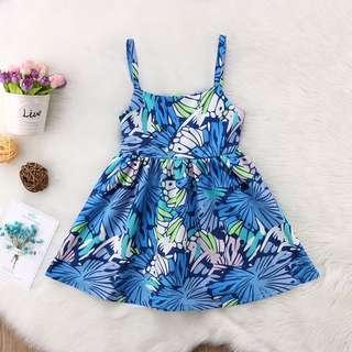 🐰Instock - blue floral dress, baby infant toddler girl children glad cute 123456789