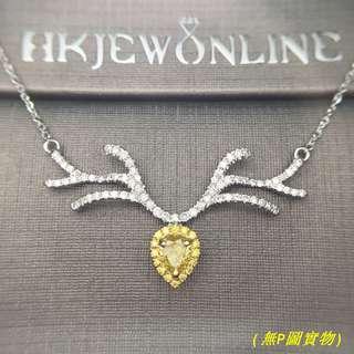 18K 白金 黃鑽 頸鍊 (15.5+2吋)