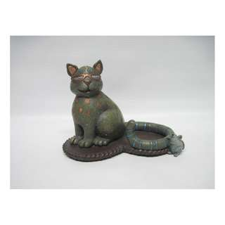Green Cat & Little Mouse Unique Figurine - Modern Whimsical Design Collectible