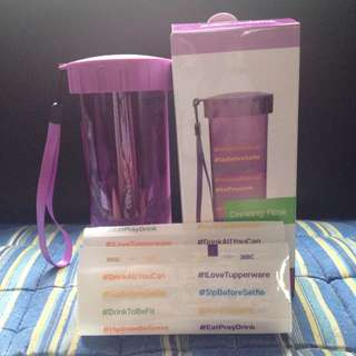 BRAND NEW TUPPERWARE 430 ml DRINKING FLASK w/ STICKERS (WILD MULBERRY)