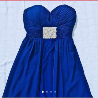 Electric Blue Strapless Short-Long Chiffon Dress (Sweetheart Neckline with Cutout Back) #CNY88