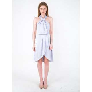 Love and Flair Solange Sky Blue Satin Dress