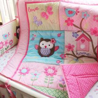 7 piece embroidery owl pink crib set
